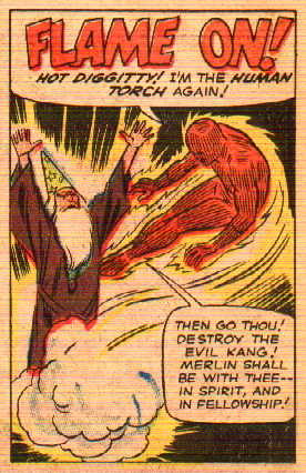 Strange Tales panel of Merlin with Human Torch